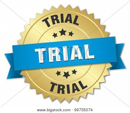 Trial 3D Gold Badge With Blue Ribbon