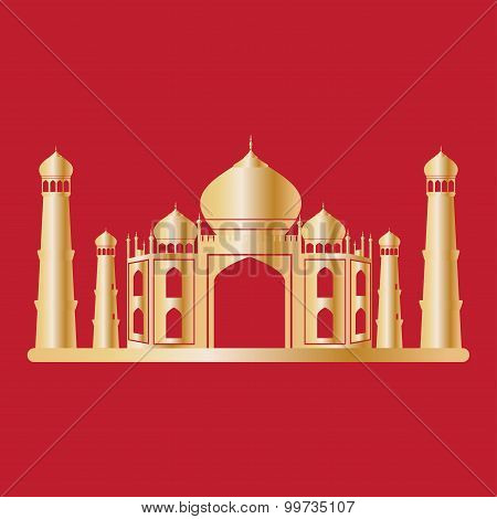 Taj Mahal Temple Gold On Red Background. Vector Illustration.