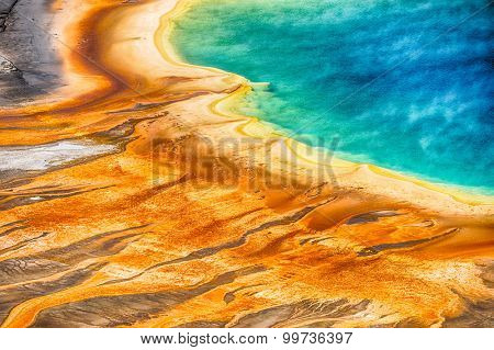 Detailed photo of Grand Prismatic Spring from above. Yellowstone National Park, Wyoming, USA