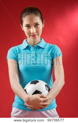 Girl With A Soccer Ball