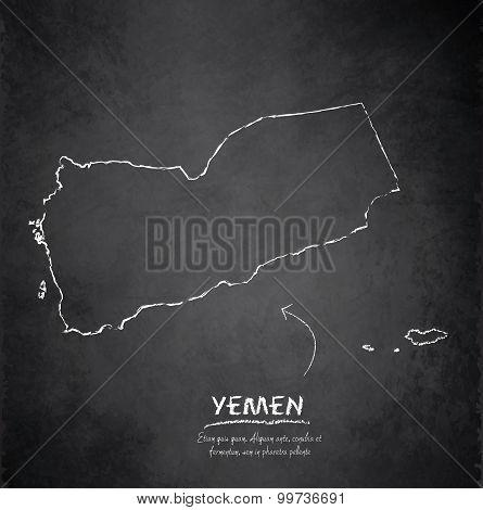 Yemen map blackboard chalkboard vector