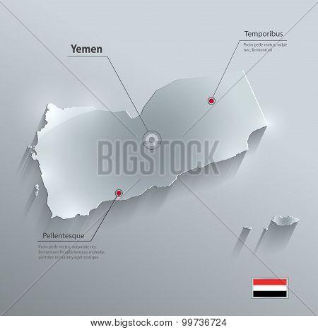 Yemen map flag glass card paper 3D vector