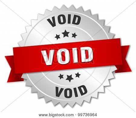 Void 3D Silver Badge With Red Ribbon