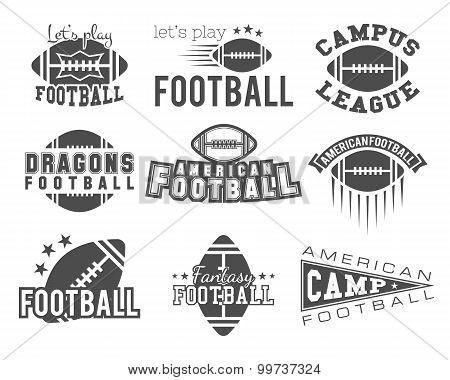 College rugby and american football team badges, logos, labels, insignias in retro style. Graphic vi