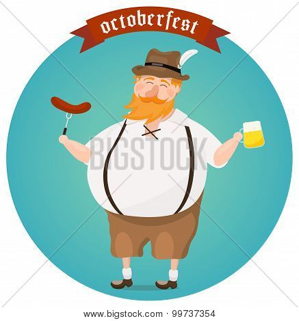 Octoberfest Festival Vector Illustration. Happy Man Enjoying Beer And Munich Sausage