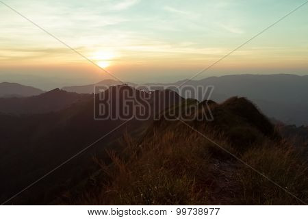 Mountains Landscape,the Light Of The Morning Sunset