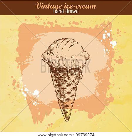 Hand drawn ice cream cone