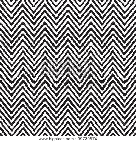 Hand Drawing Zigzag Geometrical Ethnic Pattern Seamless Vector