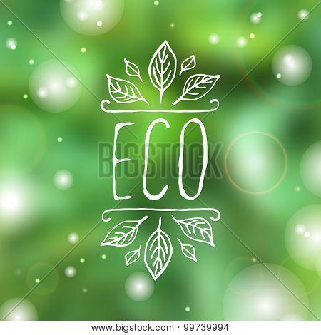 Eco - product label on white background.