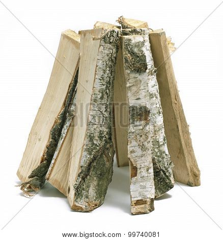 Cut Logs Of Firewood Isolated On White Background