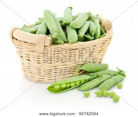 Green Peas In Basket.