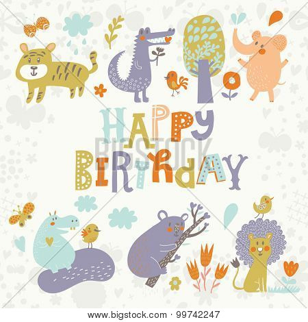 Lovely card with Crocodile, Elephant, Tiger, Hippopotamus, cute Koala and Lion in vector. Happy birthday invitation background in light pastel colors