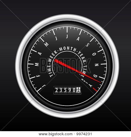 New Year Speedometer On Black