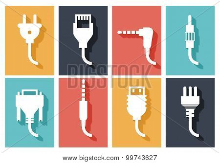 Electric plug flat icons