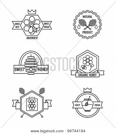 Beekeeping and apiculture vector badges, labels logo