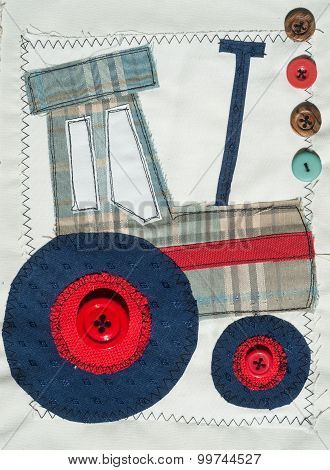 colourful sewn fabric Tractor design patchwork background