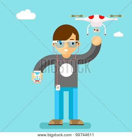 Drone action camera mobile control. Geek with smart glass