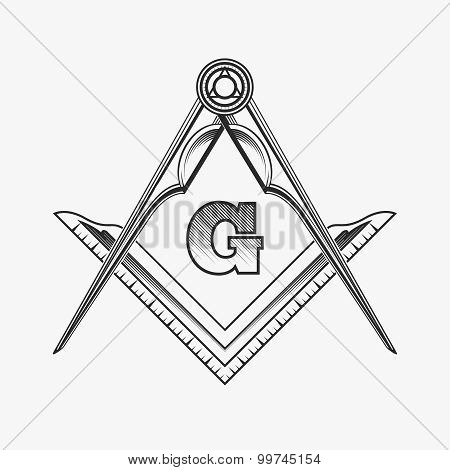 Freemasonry emblem logo with G great architect