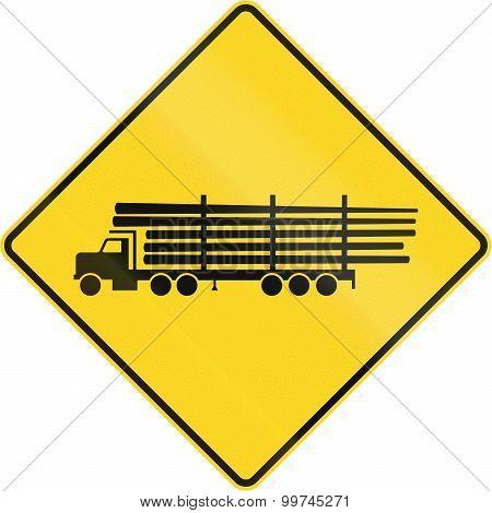 Lumber Truck Crossing In Canada