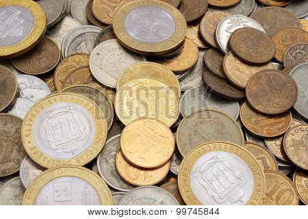 Background Of Coins Russian Rubles