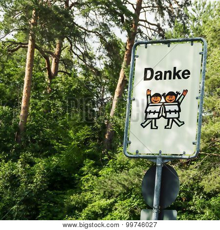 Thank Carefully Road Sign Children In German
