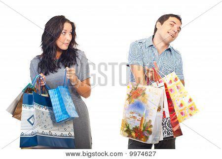 Envy Woman On Man Shoppings