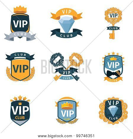 VIP club logo and emblems vector set