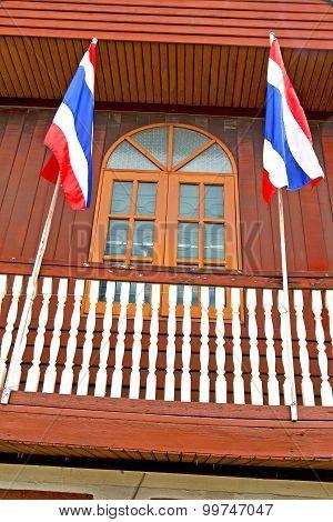 Temple     Bangkok Thailand Incision  And Terrace Waving Flag
