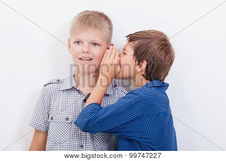 Teenage boy whispering in the ear a secret to friendl on white  background