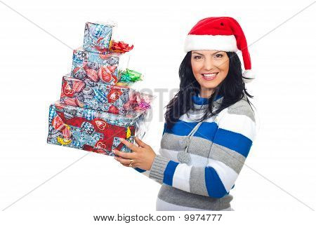 Happy Woman In Santa Hat With Gifts