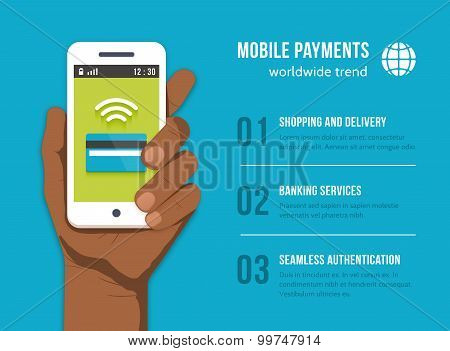 Mobile Payments. Phone in black man hand