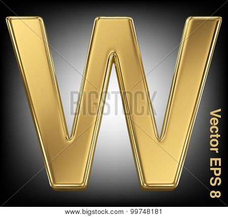 Vector letter W from gold solid alphabet. Eps 8 using mesh.