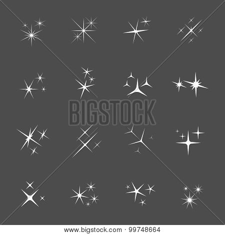 Vector sparkles icon set
