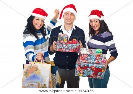 Happy Friends  With Christmas Presents