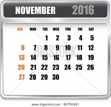 Monthly Calendar For November 2016