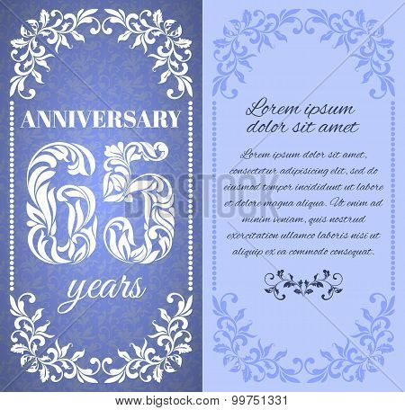 Luxury Template With Floral Frame And A Decorative Pattern For The 65 Years Anniversary. There Is A