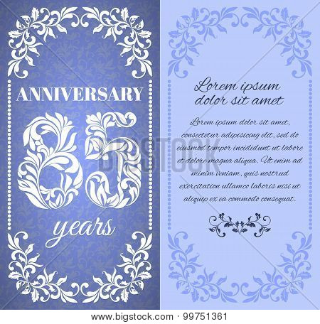 Luxury Template With Floral Frame And A Decorative Pattern For The 85 Years Anniversary. There Is A