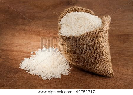 Rice In Small Burlap Sack