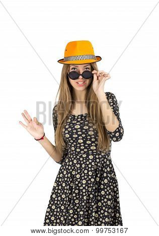 Stylish lady in orange hat