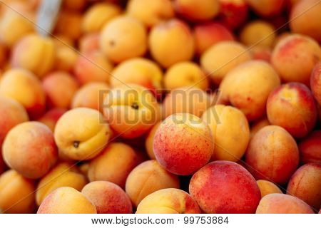 Peach close up fruit background. Assortment Of Fresh Organic Pea