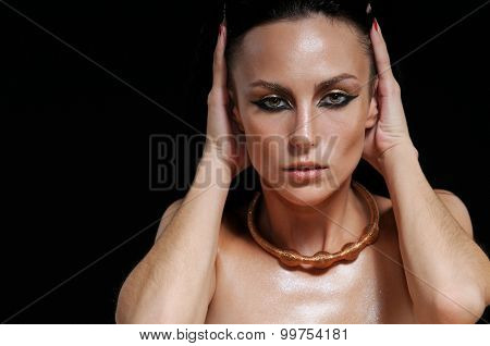 Fashion Portrait Of Sensual Glamourous Woman On Black Background