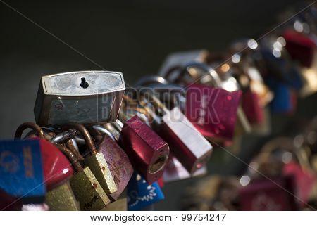 Love Locks On A Bridge Railing