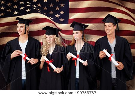 Group of people celebrating after Graduation against composite image of digitally generated united states national flag