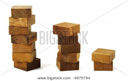 Wooden Square Figures In Pyramid Isolated