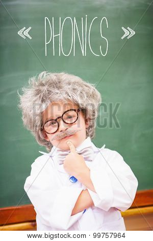 The word phonics against pupil wearing peruke and eyeglasses