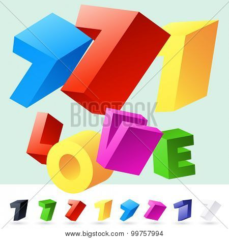 Vector 3D font of randomly rotated colourful letters. All letters in alphabet have 8 random points of view. Number 7