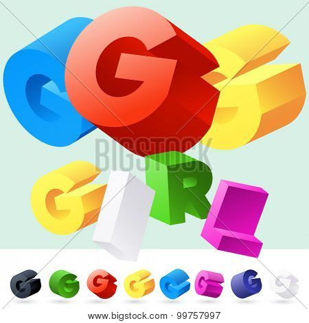 Vector 3D font of randomly rotated colourful letters. All letters in alphabet have 8 random points of view. Letter G
