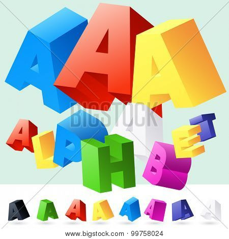 Vector 3D font of randomly rotated colourful letters. All letters in alphabet have 8 random points of view. Letter A