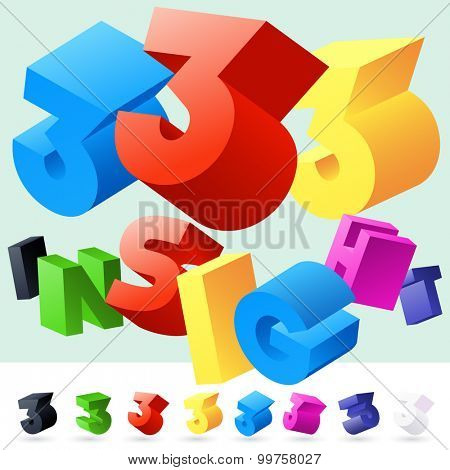 Vector 3D font of randomly rotated colourful letters. All letters in alphabet have 8 random points of view. Number 3