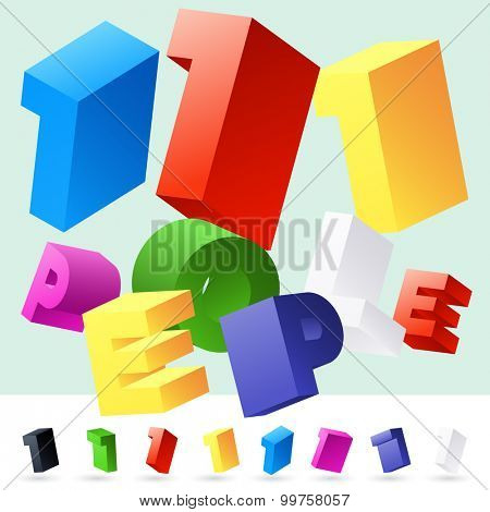 Vector 3D font of randomly rotated colourful letters. All letters in alphabet have 8 random points of view. Number 1